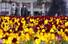 13일 오후 서울광장에 식재될 봄꽃 모종 뒤로 마스크를 착용한 시민들이 발걸음을 재촉하고 있다. 연합뉴스