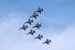 <b>블랙이글스 화려한 비행</b><br> 23일 오후 부산 오륙도 인근 상공에서 공군 특수비행팀 블랙이글스가 제70주년 대한해협해전 전승 기념식 축하 행사를 위한 사전 비행 연습을 하고 있다. 연합뉴스