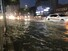 부산에 호우경보가 내려진 7일 오후 부산 해운대구 우동 한 도로에 물이 차올라 차량이 서행하고 있다. 연합뉴스