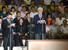 장웅 북한 국제올림픽위원회 위원(국제무도경기위원장)이 30일 북한 평양 류경정주영체육관에서 개막한 평양 국제프로레슬링대회 개막식에서 발언을 하고 있다. 연합%!^r%!^n