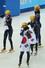 한국 쇼트트랙 여자 대표팀 선수들이 18일 오후(현지시간) 러시아 소치 해안클러스터의 아이스버그 스케이팅 팔래스에서 열린 소치동계올림픽 여자 쇼트트랙 3,000m 계주 결승에서 우승한 뒤 태극기를 들고 링크를 돌고 있다. 2014.2.18  연합뉴스