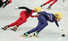한국 쇼트트랙 대표팀이 18일 러시아 소치 아이스버그 스케이팅 팰리스에서 열린 2014 소치 동계올림픽 쇼트트랙 여자 3,000m 계주에서 질주하고 있다. 2014.2.18  연합뉴스