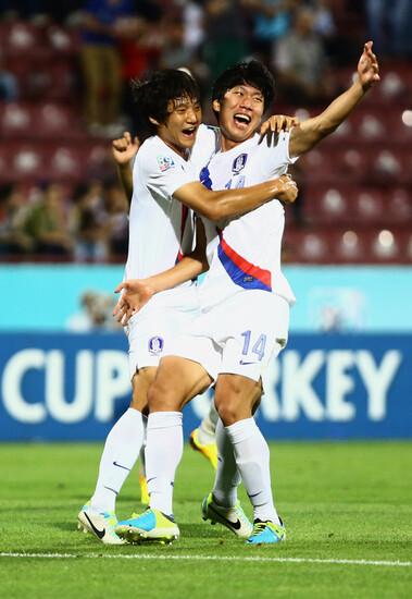 4일(한국 시각) 터키 트라브존 후세인 아브니 아케르 스타디움에서 열린 국제축구연맹(FIFA) 20살 이하 월드컵(U-20월드컵)에서 한국 대표팀(이광종 감독)이 콜롬비아를 승부차기 접전 끝에 이기고 8강에 올랐다. 2013.7.4. 뉴스원