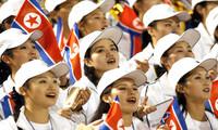 """북한 여성 응원단 """"기대하세요! 아시안게임"""""""