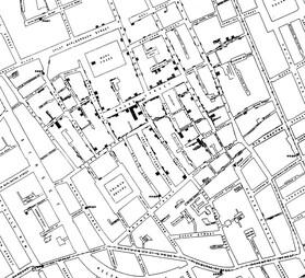 19세기 중엽 런던에서 수많은 사람이 사망한 콜레라 전염병 사태 때 런던 브로드가의 콜레라 사망자 지도. 짙은 부분이 사망자들이 집중된 지역이다. 위키미디어 코먼스