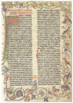 독일 기술자 구텐베르크가 1450년대 독일 마인츠에서 금속활자 활판기로 찍은 42자 성경. 대량 인쇄된 보급판 성경은 루터의 종교개혁을 전파하고 뿌리내리게 한 토대가 됐다.