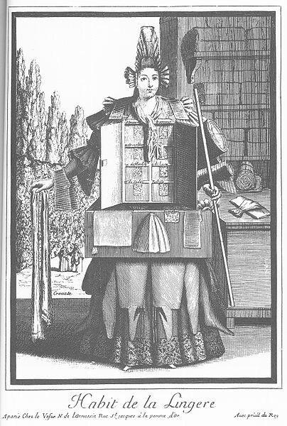 니콜라 드 라르므생의 판화 <리넨 상인의 옷>(1965). 여성 리넨 상인의 드레스 윗부분에 달린 서랍에 당시 유행하던 여러 레이스의 이름이 붙어 있고, 몸통 수납장에는 더 많은 레이스가 보관돼 있다. 윌북 제공