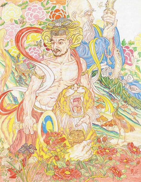 최민화 작 <달달박박>. <삼국유사>에서 부처를 만나는 유명한 수행자 고사의 주인공을 담은 그림이다. 불화, 민화, 르네상스 회화의 도상들이 배경과 인물 표현에 뒤얽혀 나타난다.