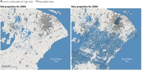 중심부가 물에 잠긴 것으로 보이는 중국 상하이 지역. 클라이밋 센트럴(Climate Central) 제공=연합뉴스 ※ 이미지를 누르면 크게 볼 수 있습니다.