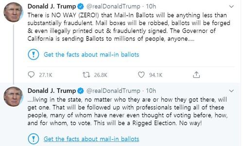 트럼프 트위트에 '사실 확인!' 경고 붙인 트위터