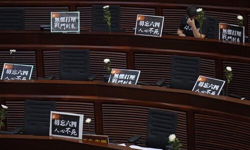 홍콩선 1.5m 거리 지키며 '천안문 추모' 촛불 타올랐다