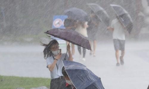 [포토] 태풍 '장미' 지나가는 부산은 지금…