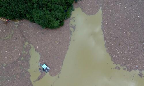 폭우의 흔적이 만들어버린 섬