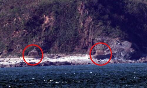 굳게 단힌 북한 개머리해안 포문