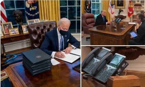 바이든, 집무실 책상서 '트럼프 콜라 버튼' 없앴다