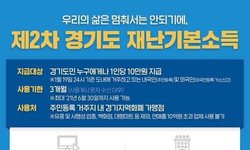 경기도, 내달 1일부터 모든 도민에 재난소득 10만원 지급