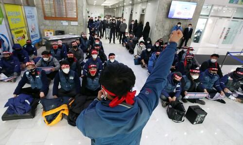 """택배노조 """"한진택배, 파업지역 집하금지 부당""""…본사 점거 농성"""