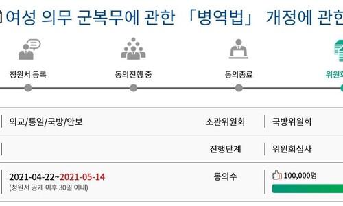 '여성 징병제' 국회청원 동의 10만명 넘겨…국방위 심사 수순