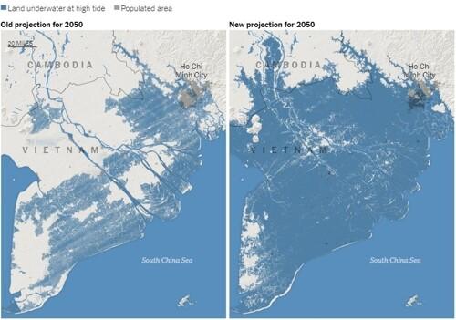 기존 예상치보다 수몰 지역이 확대된 베트남 남부 지도. 클라이밋 센트럴(Climate Central) 제공=연합뉴스