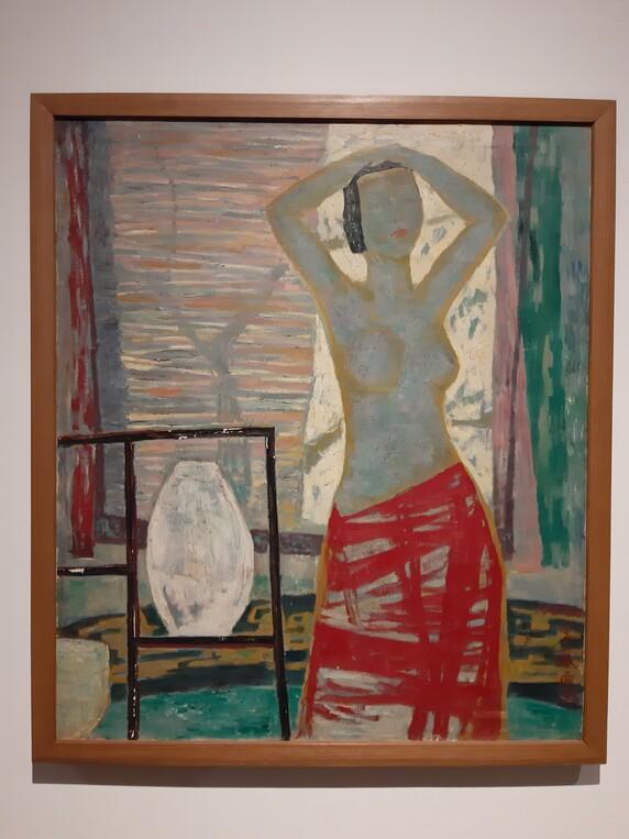 이봉상의 유화 <역광>(1957). 상반신을 벗은 여인의 반누드상을 평면적이고 장식적인 구도로 그렸다. 한국전쟁 시기 창작을 시작한 것으로 알려진 이 작품은 마티스의 야수파 등 서구 모더니즘 회화의 영향을 뚜렷하게 보여준다.
