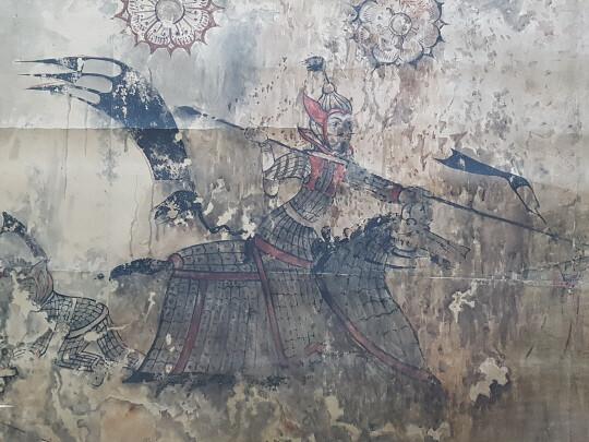 만주 통구 12호 무덤 벽화에 나온 고구려 중장기병의 전투마 그림. 말 갑옷을 입은 모습이다.