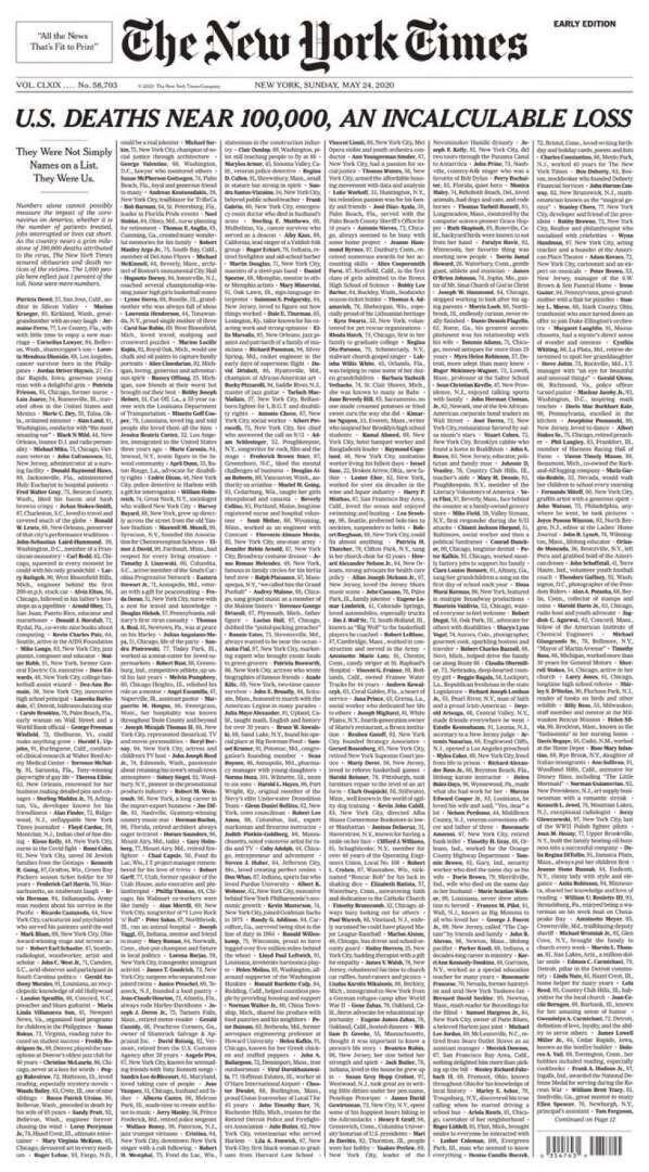 미국의 코로나19 사망자가 10만명에 육박한 가운데 <뉴욕 타임스>가 24일치 1면에 미국 내 코로나19 사망자의 약 1%에 해당하는 1천명의 부고를 실었다. 뉴욕타임스 트위터 갈무리 ※ 이미지를 누르면 크게 볼 수 있습니다.
