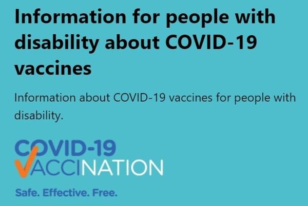 장애인을 위한 코로나19 백신 접종 관련 정보를 제공하는 페이지. 호주 보건부 누리집 갈무리