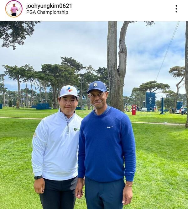 10대 김주형, PGA챔피언십 이븐파에 우즈와 사진도
