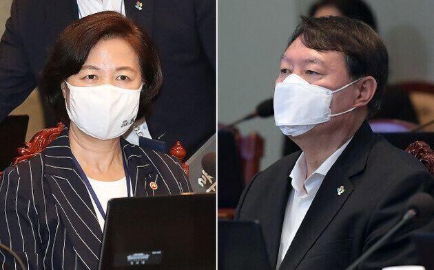 추미애 법무부장관(왼쪽)과 윤석열 검찰총장.