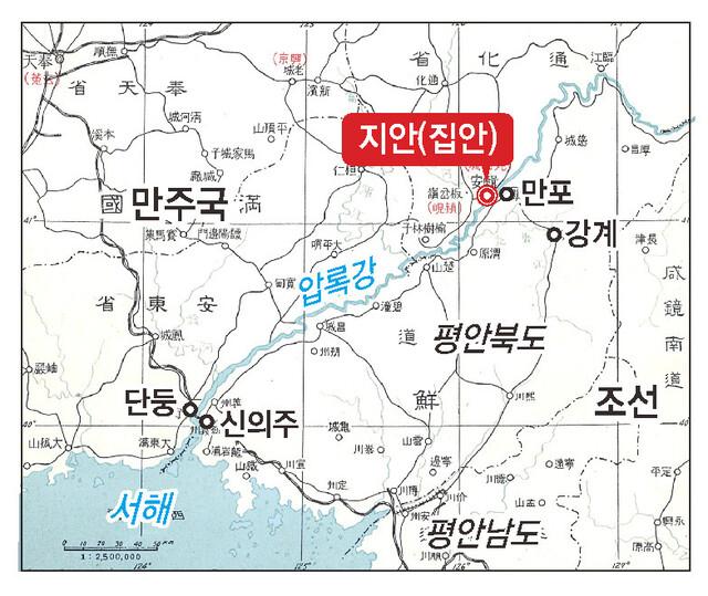 1930년대 만주국 시절, 퉁거우현 지안 일대의 지도.
