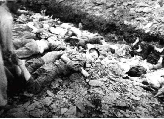1950년 7월 촬영된 대전·충청지역 형무소 재소자 학살 현장. 진실·화해를 위한 과거사정리위원회 보고서 갈무리