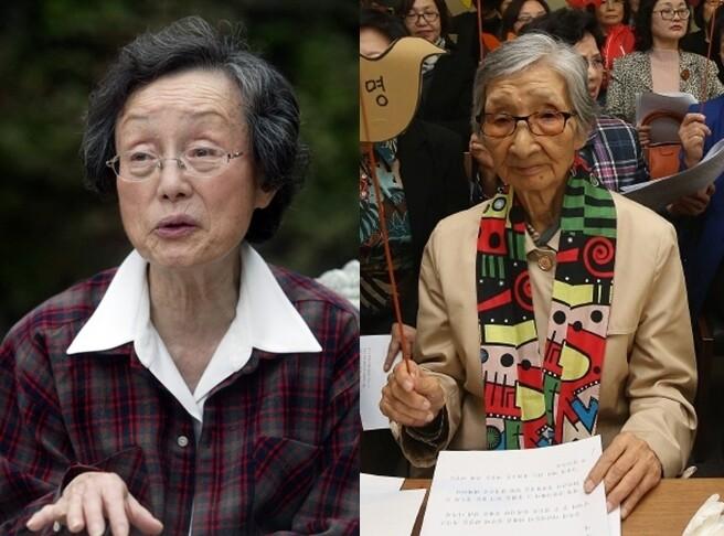 윤정옥 명예교수(왼쪽)와 이효재 명예교수(오른쪽).     <한겨레> 자료사진