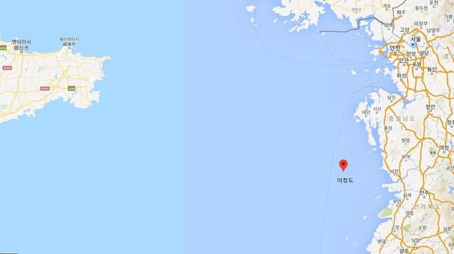 서해에서 중국과 가장 가까운 어청도. 구글 지도