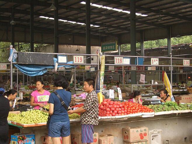 중국 후베이성 우한에서 원인 모를 폐렴이 발생해 급격하게 확산되면서 환자가 집중 발생한 이 지역 시장의 영업이 중단됐다. 위키미디어코먼스