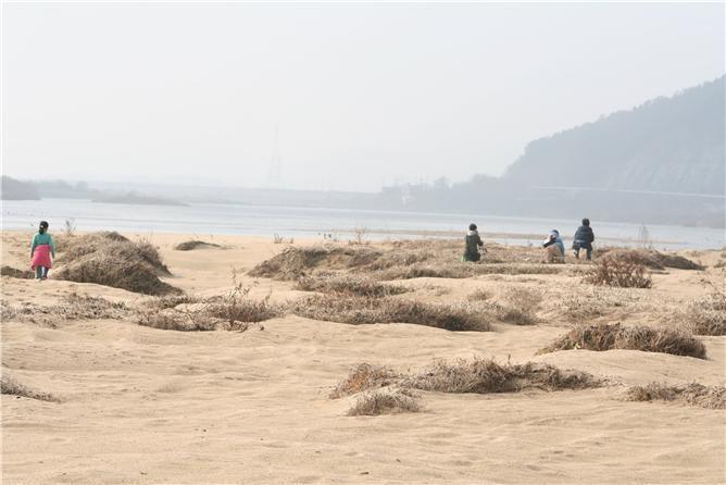 모래사막을 걷는 어린이들.
