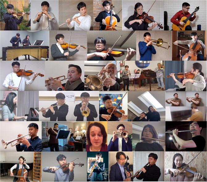 하트하트오케스트라 단원들과 그들이 지목한 국내외 연주자들이 코로나19 극복을 위한 릴레이 연주 캠페인에 참여했다. 유튜브와 페이스북을 통해 공개된 연주자들의 영상.