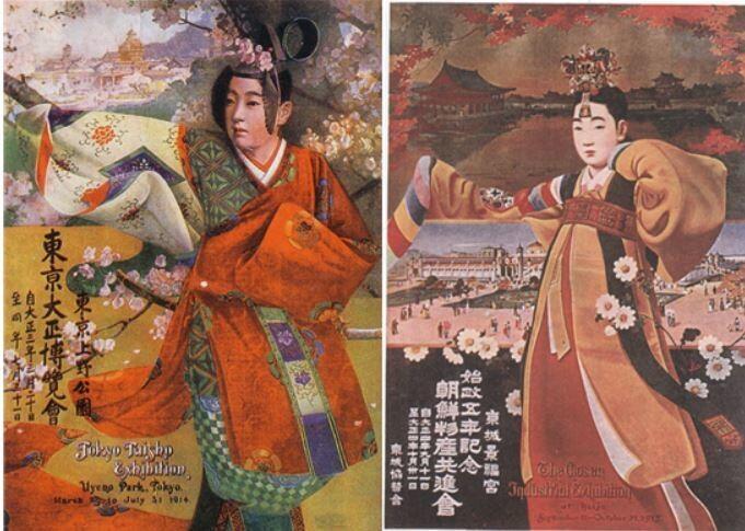 1914년 도쿄 다이쇼박람회 홍보 포스터(왼쪽)를 본떠 만든 1915년 조선물산공진회 홍보 포스터. 일제의 동화주의적 산업의 메시지엔 늘 기생이 등장한다. 기생은 전근대적인 조선의 과거와 근대적인 일본의 현재 사이에 양다리를 걸친 존재였다. 산처럼 제공.