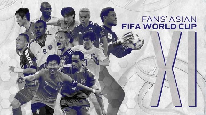 아시아 팬들이 뽑은 역대 월드컵 아시아팀 베스트 11 선수들. AFC 누리집 갈무리