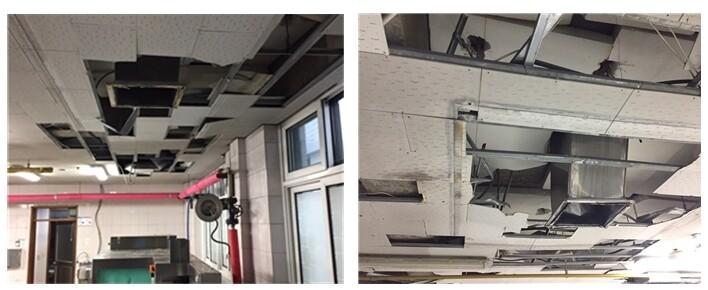 수원 ㅇ초등학교 조리실 공사 중 천장이 뜯겨나가면서 석면 비산에 따른 안전 위험이 제기됐다. 석면모니터단 제공
