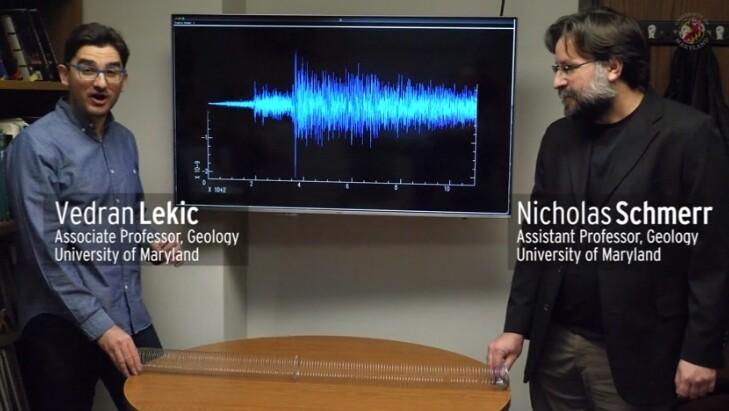 메릴린드대 과학자들이 화성의 지진을 설명하고 있다. 웹방송 갈무리