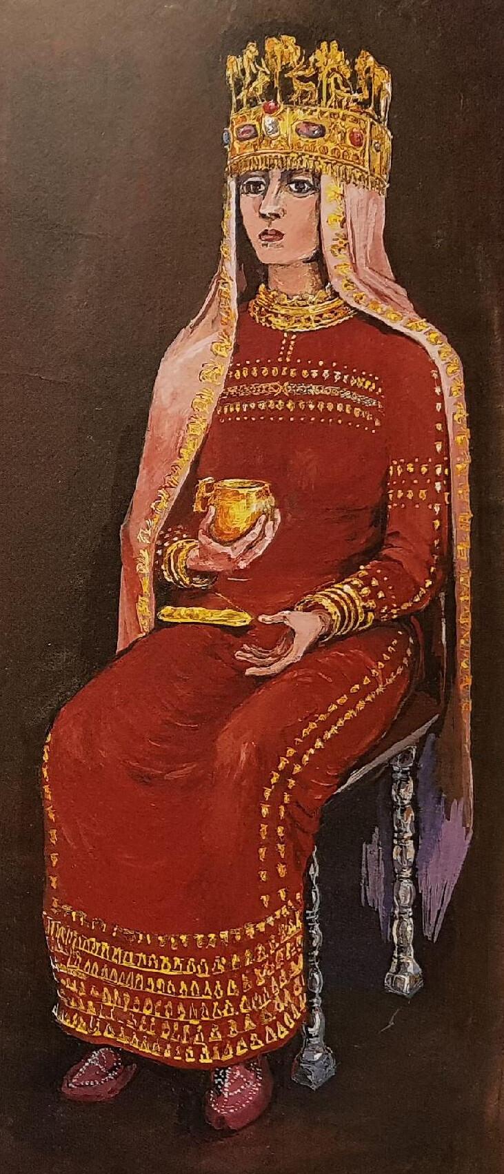 흑해 연안 사르마트 고분의 금관을 쓴 사제의 복원도. 강인욱 제공