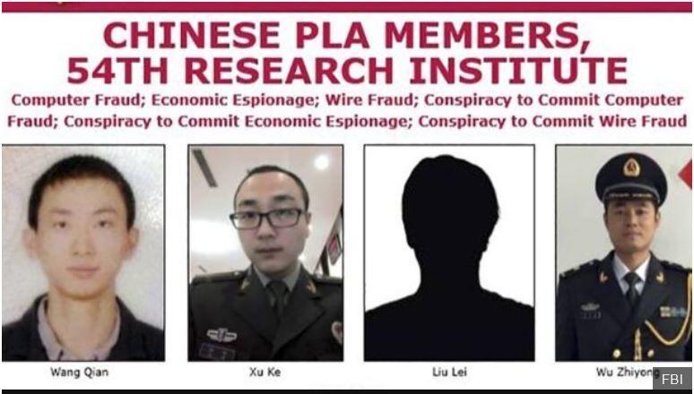 미국 연방수사국(FBI)가 10일 발표한 미국 신용평가회사 에퀴팩스에 대한 해킹 용의자들인 중국 군 장교들. 인민해방군 제54연구소 소속이다.