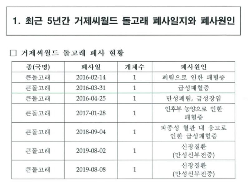 최근 5년간 거제씨월드 돌고래 폐사일지와 원인. 정의당 강은미 의원실 제공