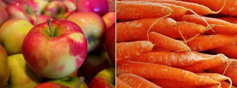 과일에선 사과, 채소에선 당근이 미세플라스틱 검출량이 가장 많았다. 픽사베이