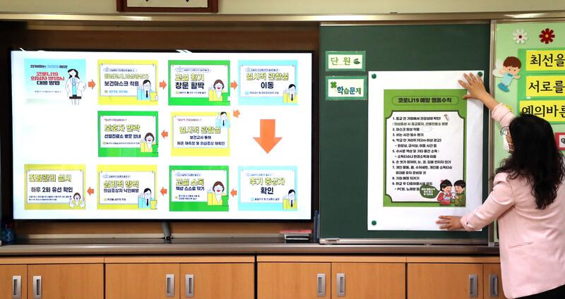 25일 서울 성동구 동호초등학교에서 교직원이 아이들의 등교를 준비하며 교실 게시판에 코로나19 예방수칙을 부착하고 있다. 연합뉴스