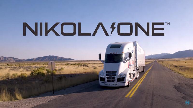 니콜라가 2018년 1월 유튜브 채널에 공개한 영상 '니콜라 원 인 모션(Nikola One in Motion)'에서 수소전기 세미트럭 '니콜라 원'이 달리는 모습. 니콜라 제공