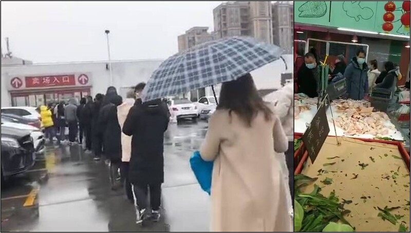 중국 당국이 2일부터 후베이성 징저우시의 교통을 통제하겠다고 발표하자 주민들이 생필품을 사기 위해 마트 앞에 줄을 서고 있다.(왼쪽) 마트에서는 채소류 등 식료품이 금세 동이 나기 시작했다.(오른쪽) 지성재씨 제공