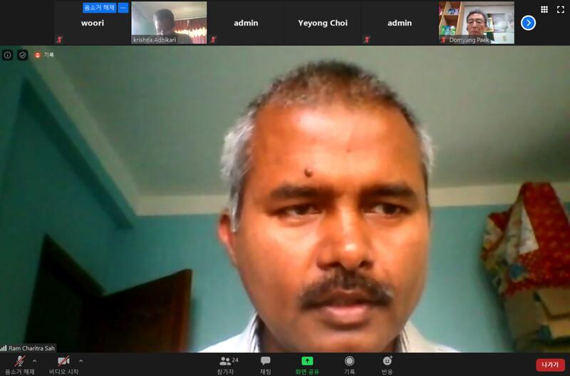'안로예프'의 람 차리트라 사씨가 15일 환경보건시민센터가 마련한 엘지화학 인도 공장 가스 누출 사고 관련 기자간담회에서 발언을 하고 있다. 영상 화면 갈무리.