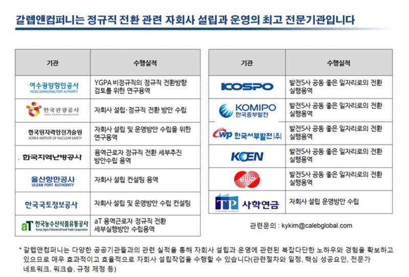 민간 컨설팅 업체 갈렙앤컴퍼니가 자신의 누리집에 올린 홍보물.