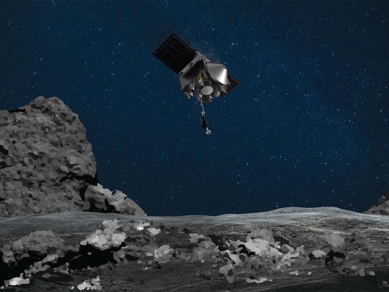 오시리스렉스가 베누 소행성 표면을 향해 하강하는 장면(상상도). 나사 제공